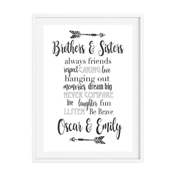 Monochrome Siblings Personalised Print - Lil Sunshine Collections