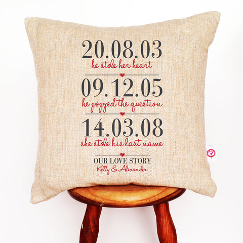 3 Dates Personalised Cushion Cover - Lil Sunshine Collections