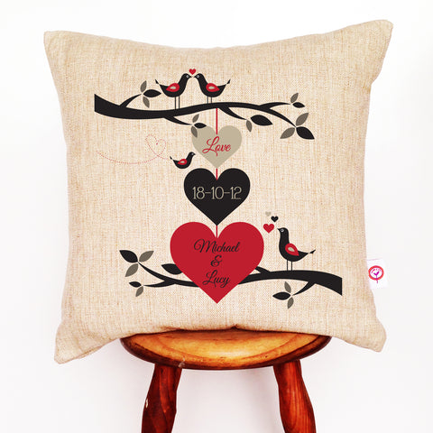 3 Hearts Personalised Cushion Cover - Lil Sunshine Collections