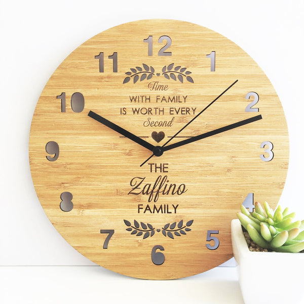 Time With Family Personalised Bamboo Clock - Lil Sunshine Collections