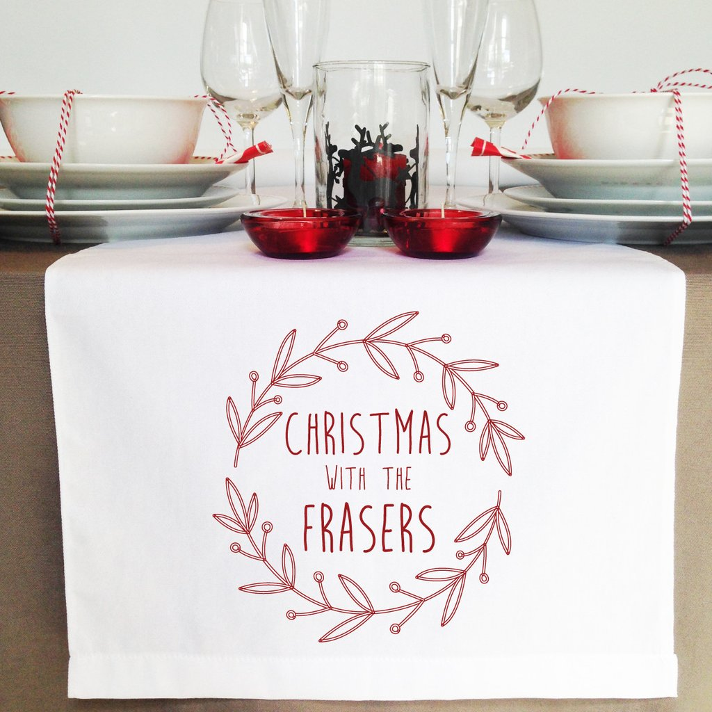 Red Wreath Christmas Table Runner - Lil Sunshine Collections