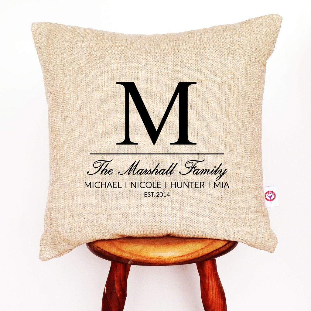 Initial Family Personalised Cushion Cover - Lil Sunshine Collections