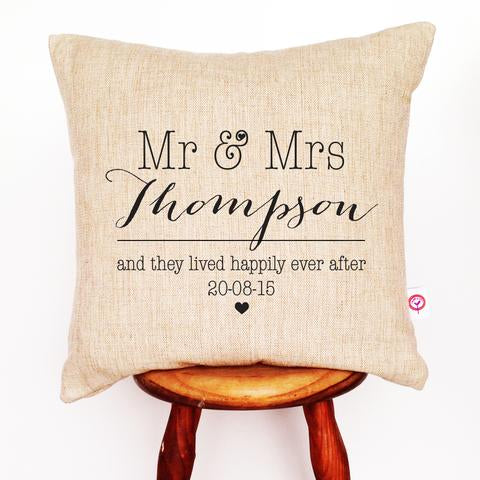 Mr & Mrs Wedding Personalised Cushion Cover - Lil Sunshine Collections