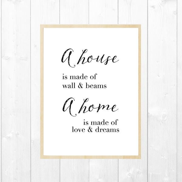 A Home Is Made Of Love & Dreams Customised Wall Art Decor Print - Lil Sunshine Collections