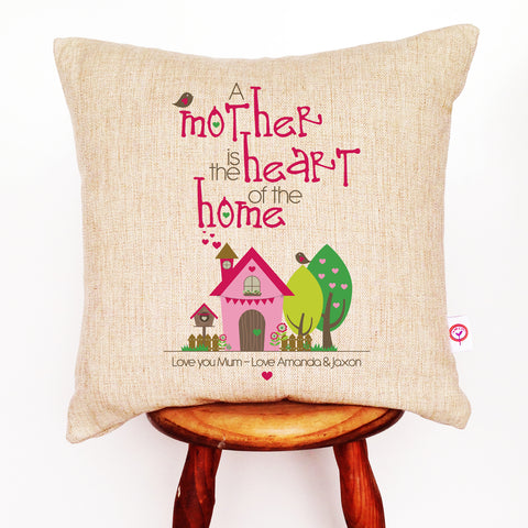 A Mother Is The Heart of The Home Personalised Cushion Cover - Lil Sunshine Collections