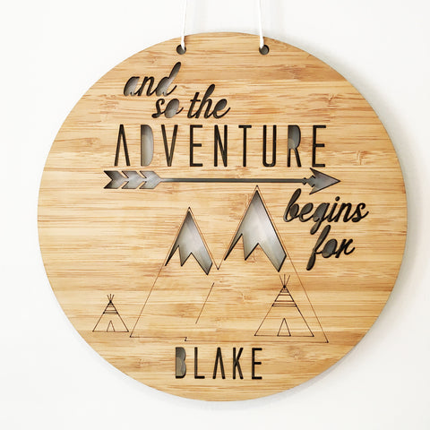 Adventure Begins Personalised Wall Hanging