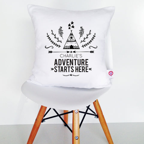 Adventure Starts Here Personalised Cushion Cover - Lil Sunshine Collections
