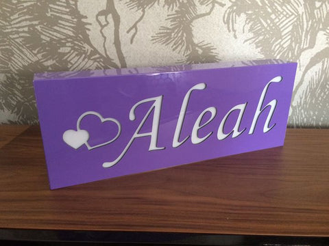 Personalised Night Light - Violet - Lil Sunshine Collections
