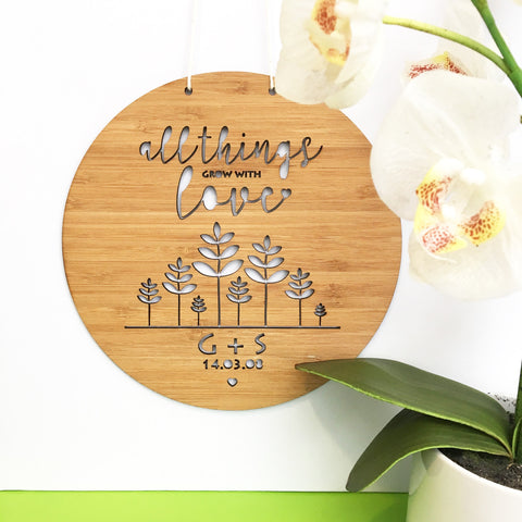 All Things Grow With Love Personalised Wall Hanging