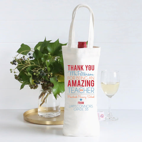 Amazing Teacher Personalised Wine Bag - Blue/Orange - Lil Sunshine Collections