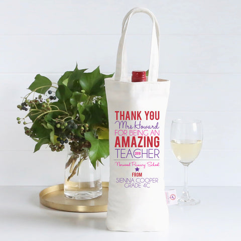 Amazing Teacher Personalised Wine Bag - Pink/Purple - Lil Sunshine Collections