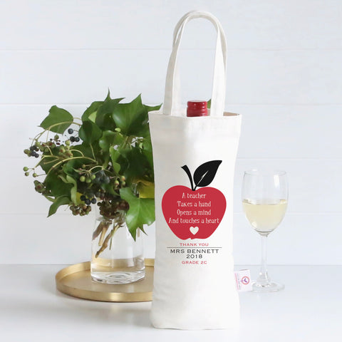 An Apple A Day Personalised Wine Bag - Lil Sunshine Collections