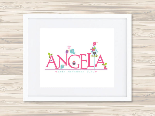 Girls' Personalised Name Birth Date Print - Angela - Lil Sunshine Collections
