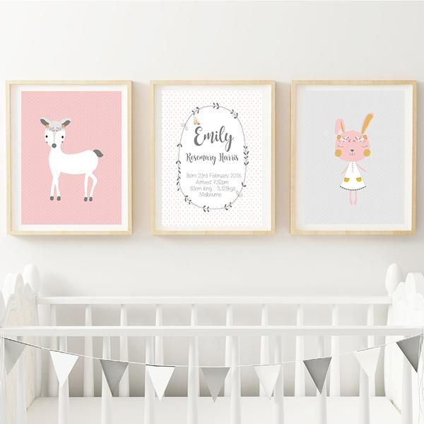 Animal Wonderland Girls Personalised Birth Wall Art Nursery Print - Lil Sunshine Collections