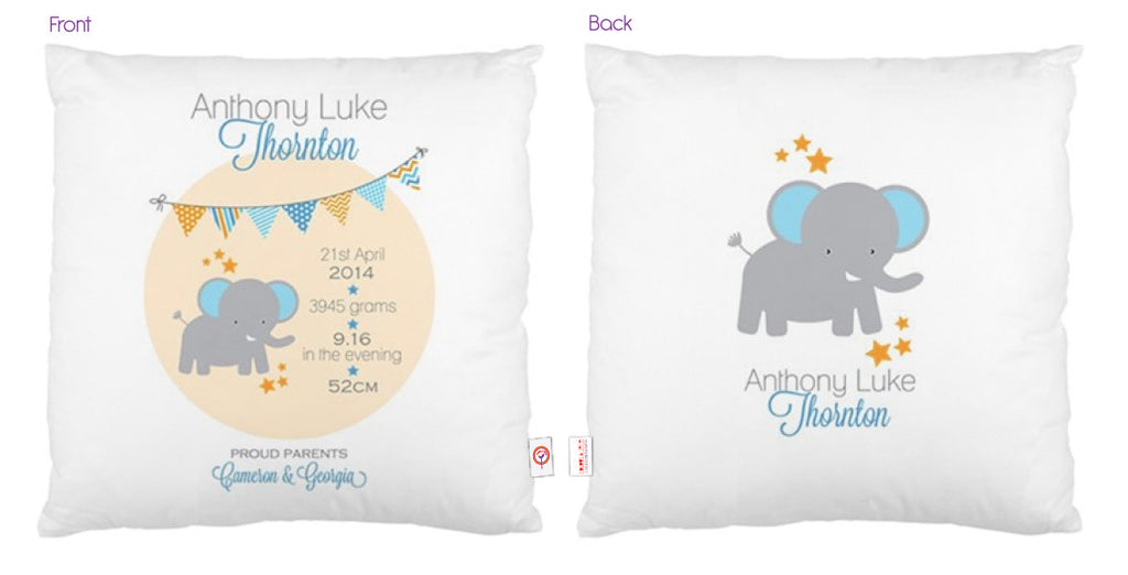 Elephant Personalised Bunting Cushion - Lil Sunshine Collections