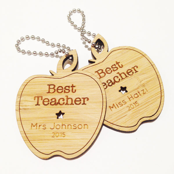Best Teacher Apple Personalised Bamboo Keyring - Lil Sunshine Collections