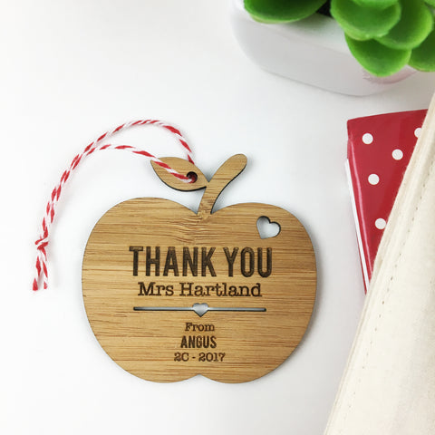 Thankyou Apple Personalised Ornament - Lil Sunshine Collections
