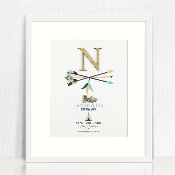 Bamboo Arrows Personalised Birth Print - Lil Sunshine Collections