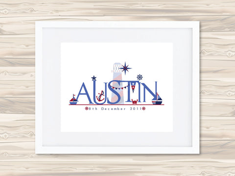 Boys' Personalised Name Birth Date Print - Austin - Lil Sunshine Collections