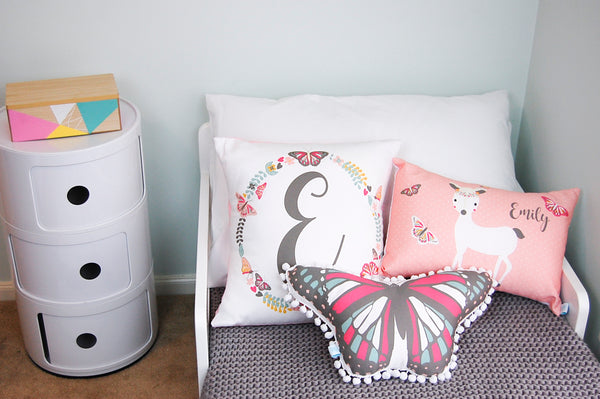 Wonderland Butterfly Pom Pom Cushion - Lil Sunshine Collections