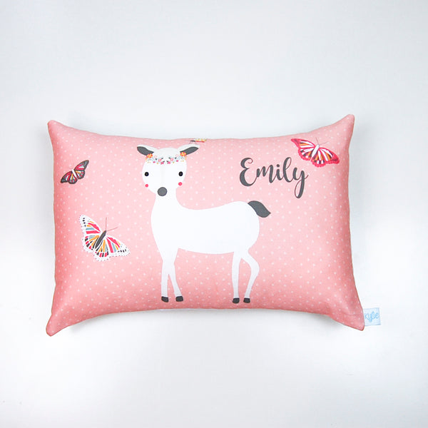 Pretty Blush Pink Deer Girls Personalised Cushion - Lil Sunshine Collections