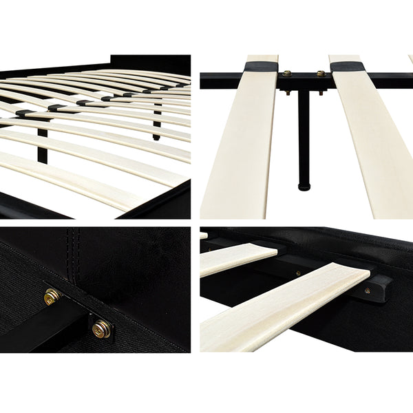 Queen PVC Leather Bed Frame Black - Lil Sunshine Collections
