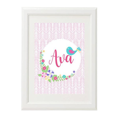 Baby Bird Girls Personalised Wall Art Print - Lil Sunshine Collections