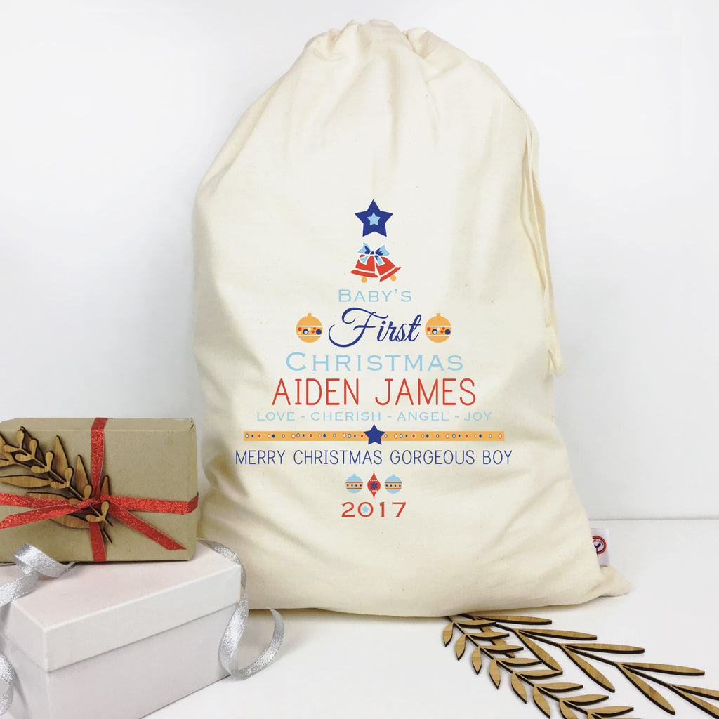 Baby Boys' 1st Christmas Personalised Santa Sack - Lil Sunshine Collections