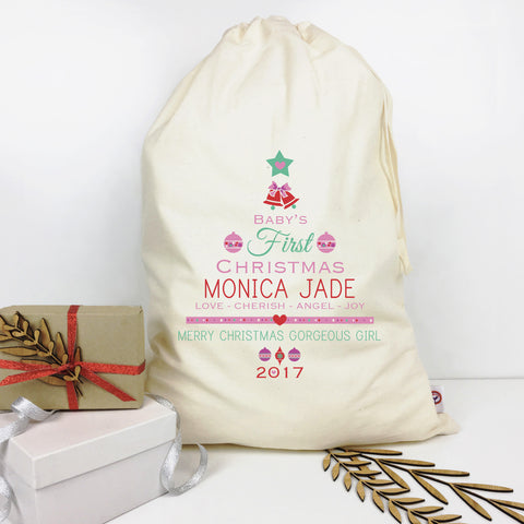 Baby Girls' 1st Christmas Personalised Santa Sack - Lil Sunshine Collections