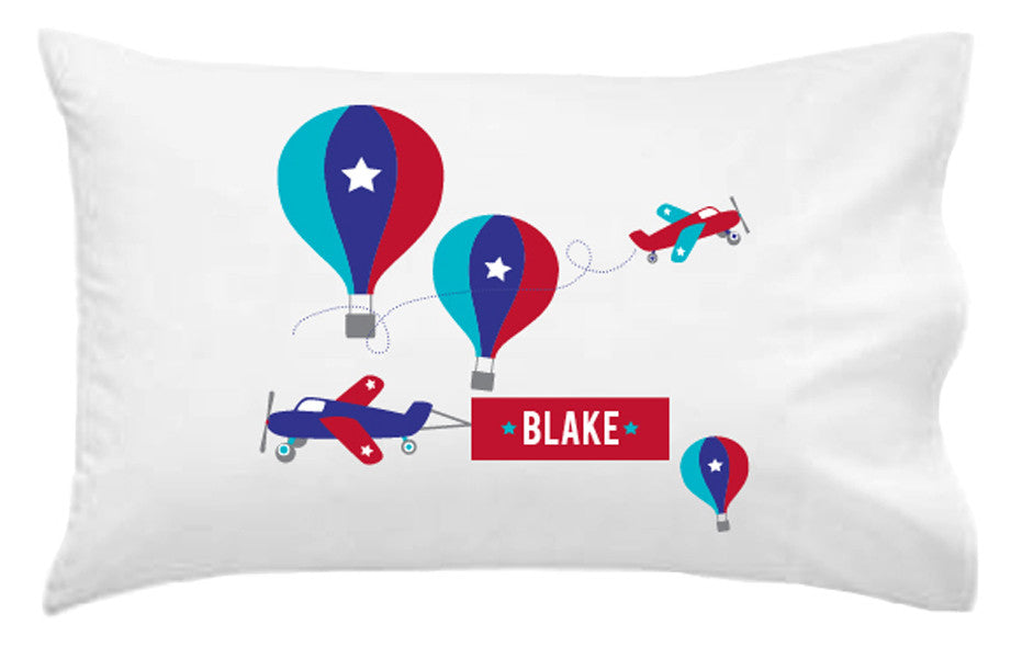 Balloons and Planes Personalised Pillowcase