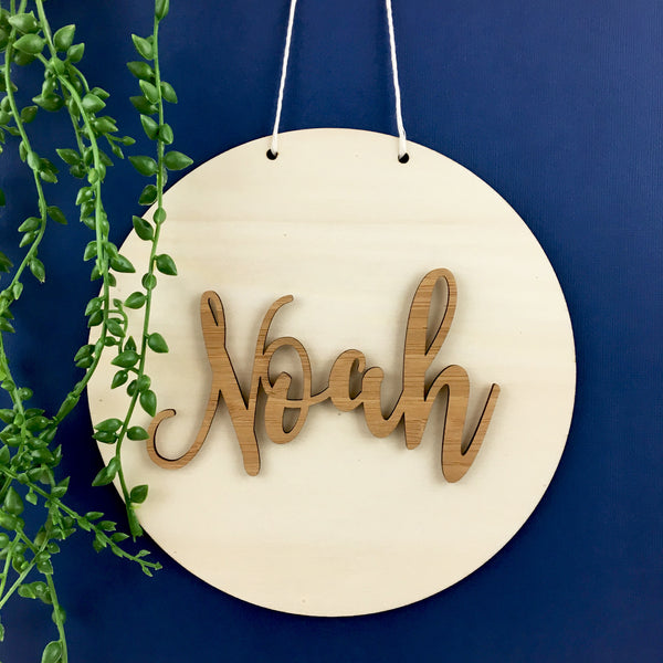 Bamboo Personalised Script Name Wall Hanging - Lil Sunshine Collections
