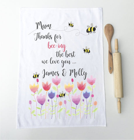 Bee-ing The Best Mum Personalised Tea Towel