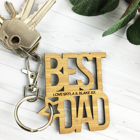 Best Dad Personalised Bamboo Keyring - Lil Sunshine Collections