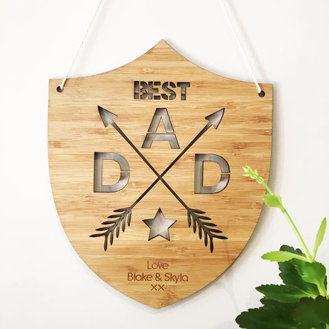 Personalised Best Dad Bamboo Wall Hanging - Lil Sunshine Collections