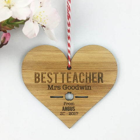 Best Teacher Personalised Heart Ornament - Lil Sunshine Collections