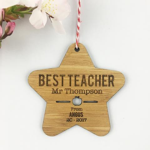 Best Teacher Personalised Star Ornament - Lil Sunshine Collections