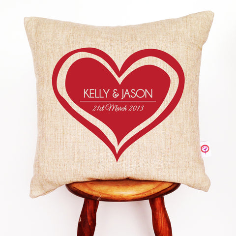 Big Heart Personalised Cushion Cover - Lil Sunshine Collections