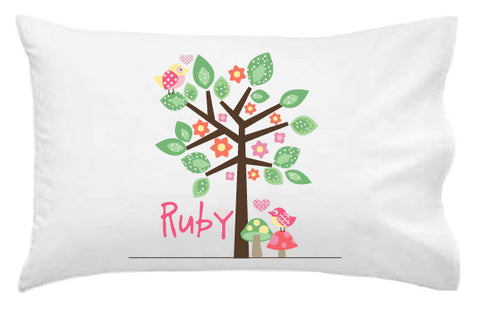 Bird on a Tree Personalised Pillowcase - Lil Sunshine Collections