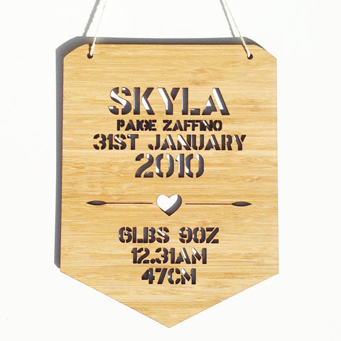 Personalised Birth Details Wall Hanging - Girls - Lil Sunshine Collections