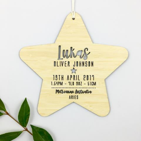Birth Details Personalised Star Wall Hanging - Boys - Lil Sunshine Collections