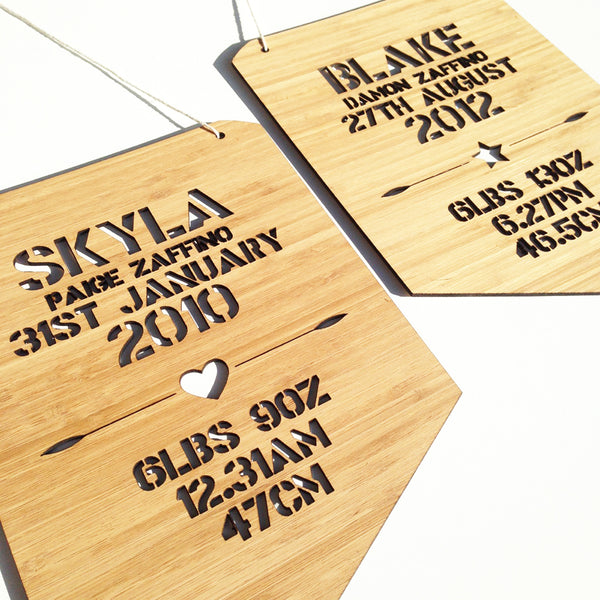 Personalised Birth Details Wall Hanging - Boys - Lil Sunshine Collections