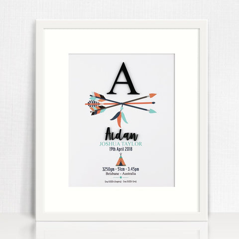 Black Acrylic Arrows Birth Print - Lil Sunshine Collections