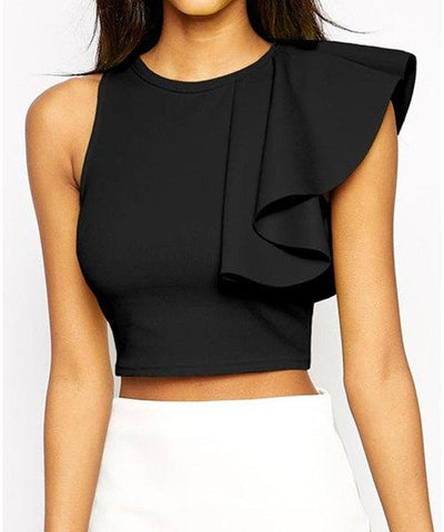 Black Ruffle Crop Top - Lil Sunshine Collections