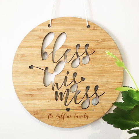 Bless This Mess Personalised Wall Hanging - Lil Sunshine Collections