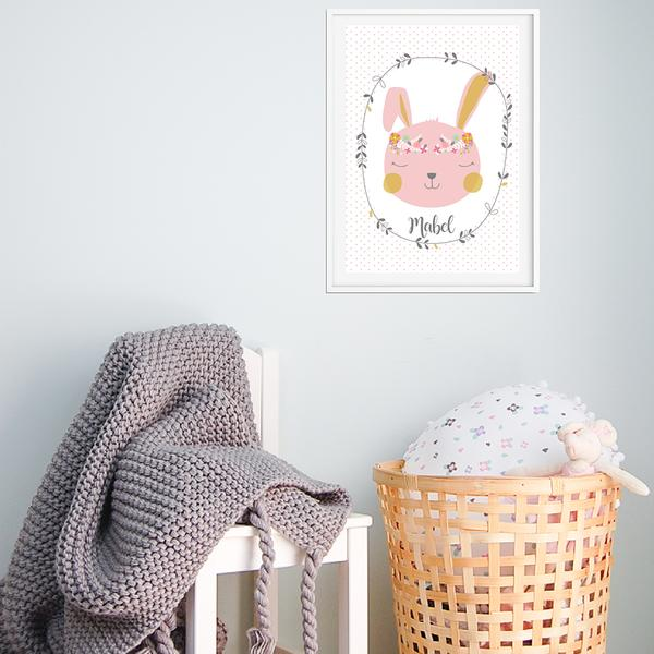 Blush Pink Bunny Girls Personalised Wall Art Print - Lil Sunshine Collections