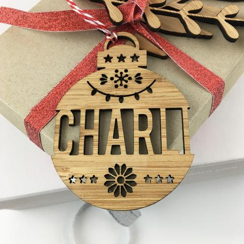 Christmas Bamboo Detailed Personalised Name Ornament