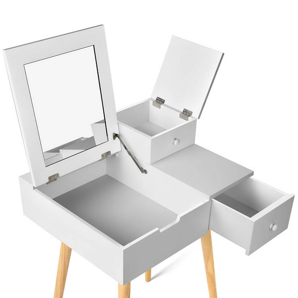 Dressing Table with Foldaway Mirror- White - Lil Sunshine Collections