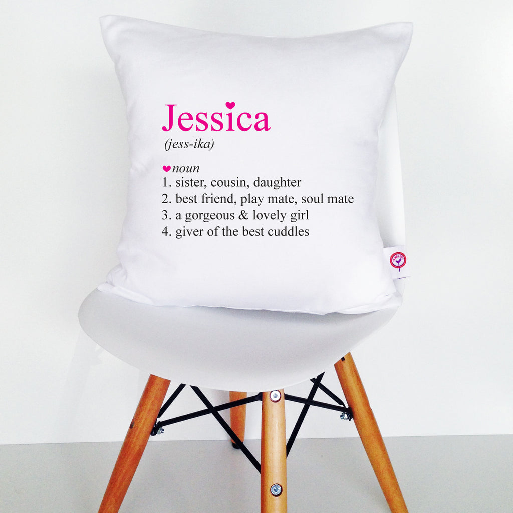 Girls' Personalised Dictionary Cushion Cover - Lil Sunshine Collections