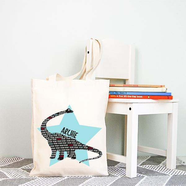 Dinosaur Personalised Library Tote Bag - Lil Sunshine Collections