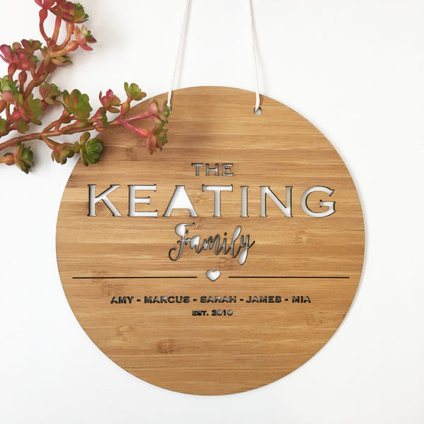 The Family Personalised Wall Hanging (Round)